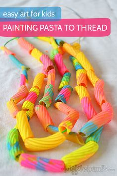 Tubular Pasta Necklace Idea with Vibrant Watercolor