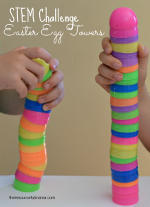 Stem Kids Challenge: Build the stale tower with easter plastic eggs