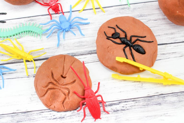Creative Preschool Activity Idea: Bug Fossils on Play Dough