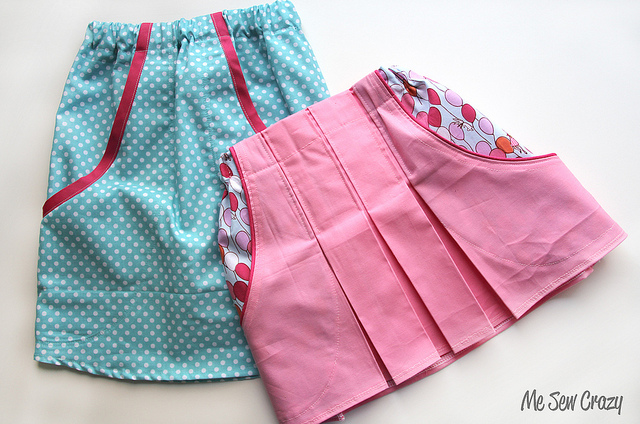 Pleated Pocket Skirt Tutorial with Different Cotton Material in A Fancy Contrasting Pattern