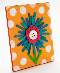 Simple Yet Attractive Canvas Art with Popsicle Sticks Flower and Button Pistil
