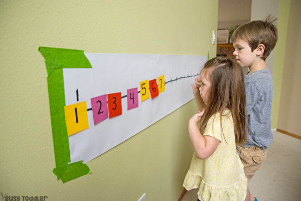 Post-It Number Line Math Game: A Preschool Activity for Kids