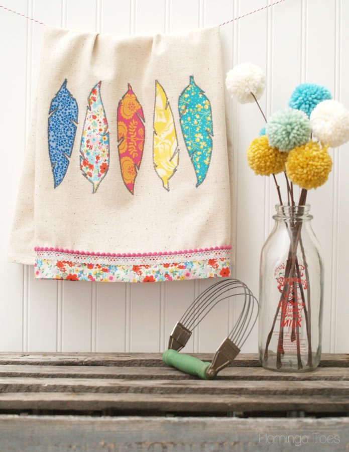 Pretty DIY Dishtowel Craft Idea with Fabric Feather Appliques from Scrap Fabric