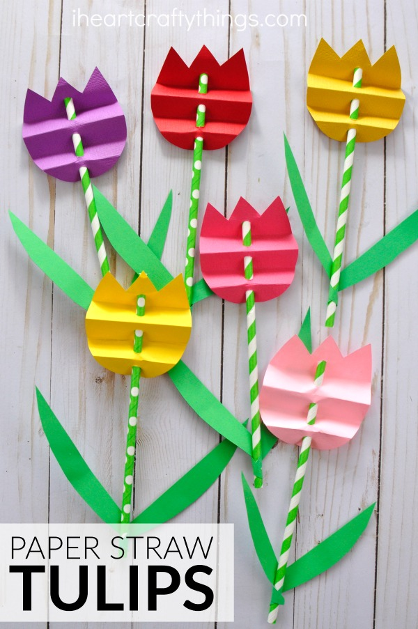 Charming Paper Straw Tulips: Easy Spring Flower Craft Idea for Kids