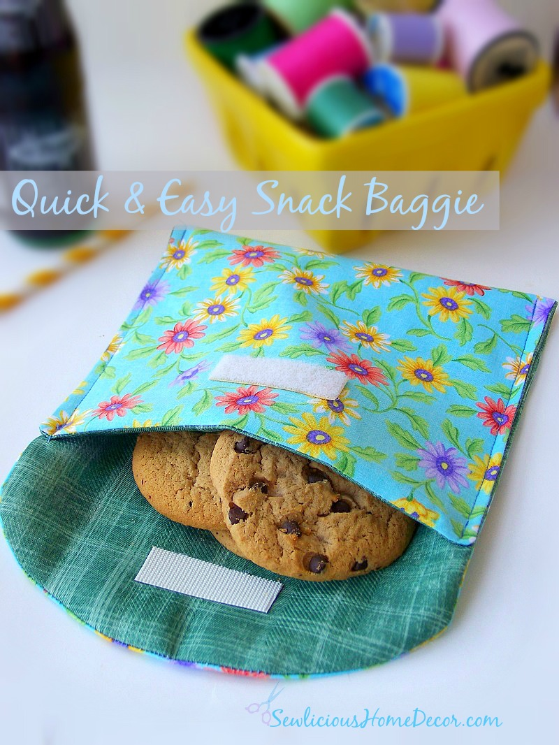 Quick and Easy Snack Baggie with Velcro Closer and Pretty Floral Prints