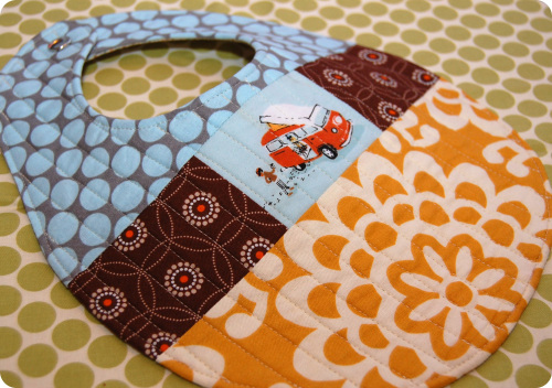 All-Sewed Quilted Patchwork Bib Pattern Craft with Button Encloser