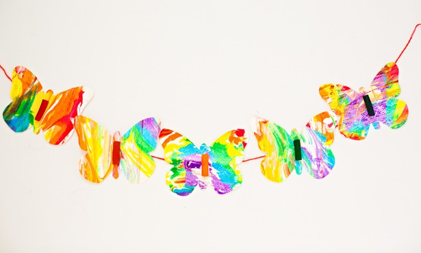 Rainbow Marbled Garland: Butterfly Pasta Art for Kids