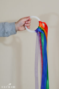 Rainbow Ribbon Wind Ring Spring Craft Toddlers