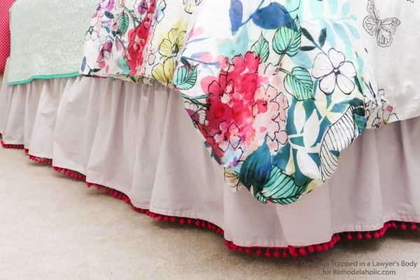 Remodelaholic Sewing Project: Semi-Homemade Pom-Pom Bed Skirt with Nice Color Contrast