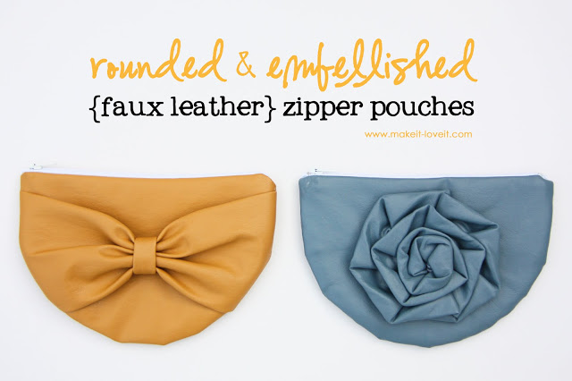 Exceptionally Trendy Rounded & Embellished Zipper Pouches Out of Faux Leather