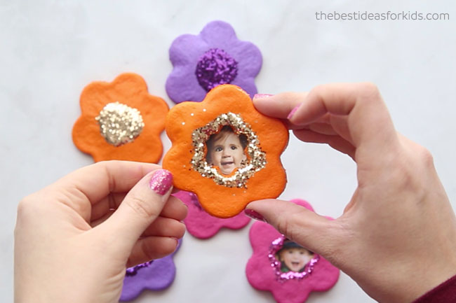 Salt Dough Flower Magnets with Glittery Frame Shapes