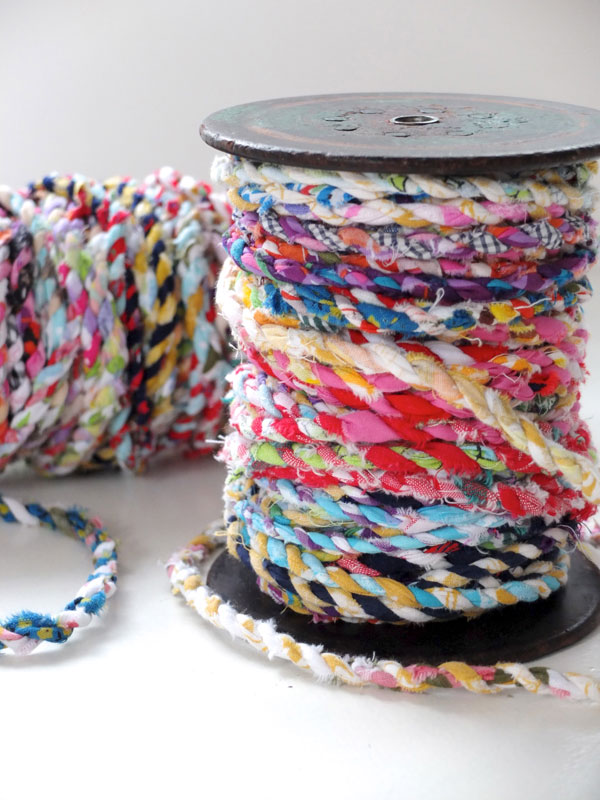 Handmade Scrap Fabric Twine with Multicolor Fabric Scraps