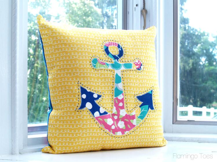 Scrappy Anchor Pillow DIY Design with Fabric Scrap Applique