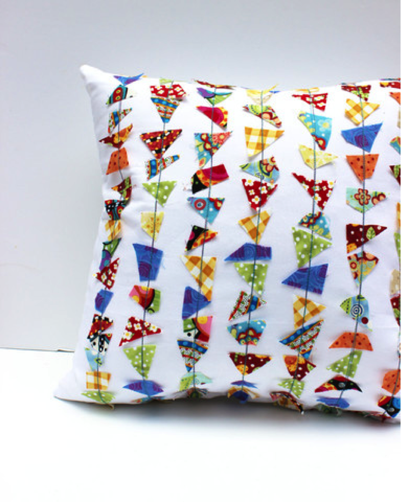 Sewed Scrappy Pillow Trim Cover with Vibrant Fabric Scraps