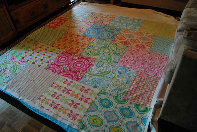 Fat Quarter Quilt with Various Fabric Scraps in Creative Collage Pattern