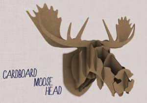 Cardboard Moose Head Wall Decor with Suitable Color Accent