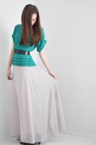 Sewing Chiffon Maxi Skirt with Little Pleated Flares in Elegant White Shade