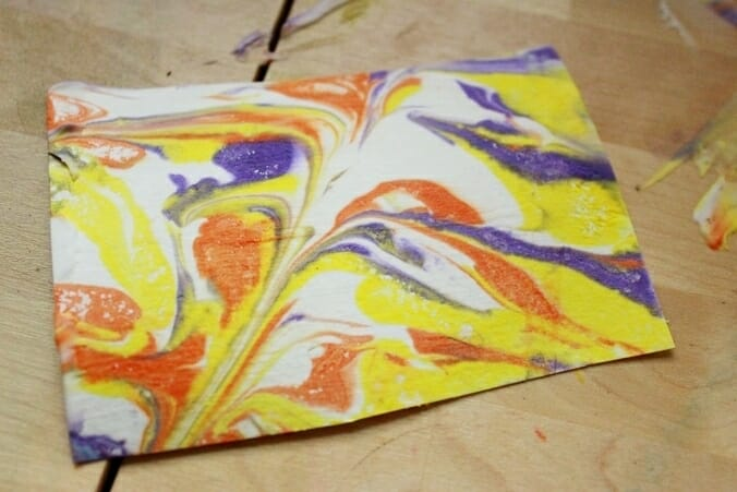 Shaving Cream Marbling with Liquid Watercolor