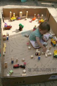 Small World Play Town in Cardboard Box