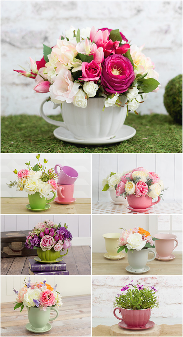 Cup-Saucer Flower Vase Set: A Classy Home Decor Gift Idea for Mother's DayMother's Day
