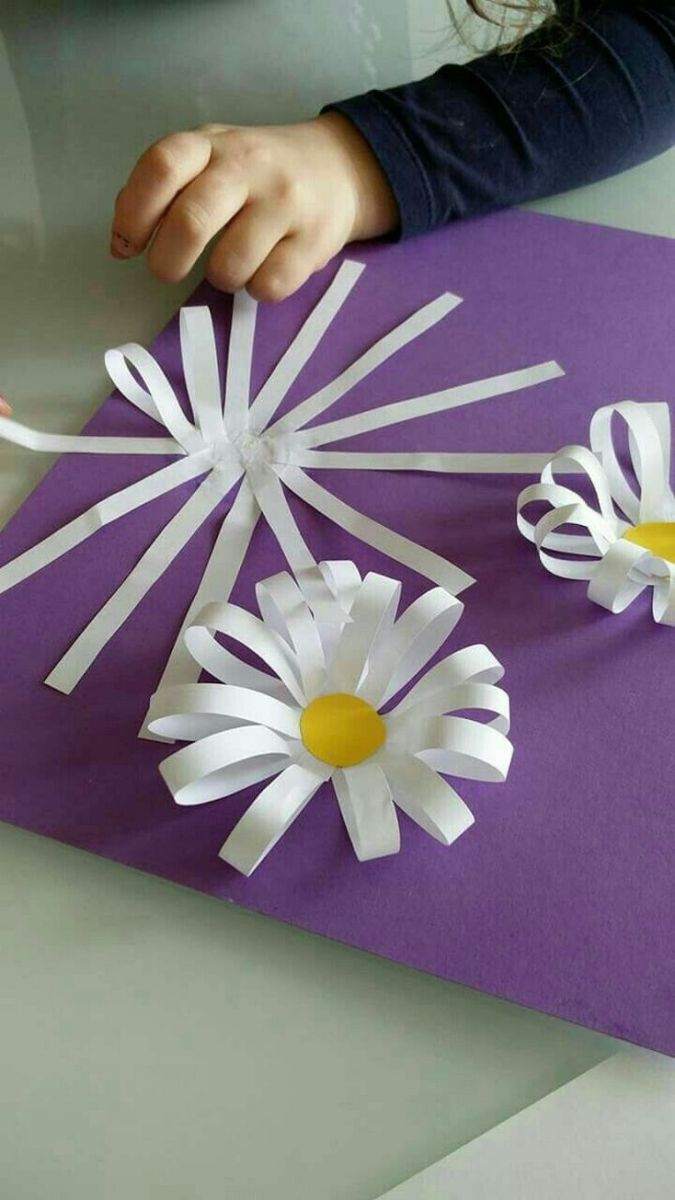 Preschool Spring Craft Idea Pretty Flowers From Paper Strips