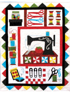 Stitch Happens Quilt Pattern with Colorful Scrap Fabric Pieces