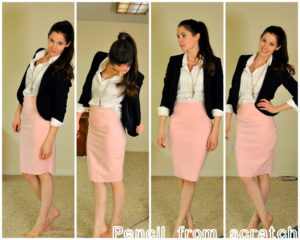 Elegant Pencil Skirt from Stretchable Knit Fabric with Thick Breathable Material