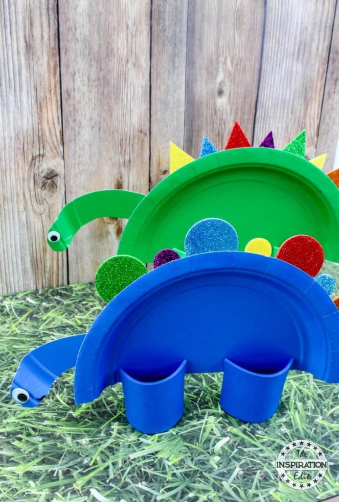 Super Quick-to-Make Paper Plate Dinosaur Craft with Foam Sheet Decor