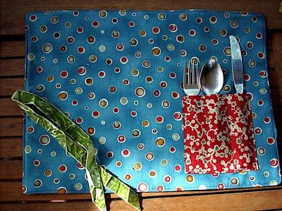 Take-Alongplacemat Sewn Up with Two Different Cotton Fabric Scraps