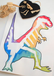 Tape Resist Dinosaur Bone Art #stem and #summer Activities for kids