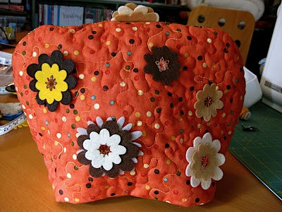 All-Sewn Teapot Cozy Tutorial from Fabric Scraps with Felt Flower Decors
