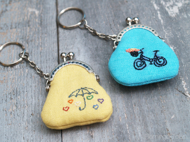 Super Cute Tiny Embroidered Key Chain Coin Purses from Fabric Scraps