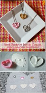 DIY Heart Thumbprint Clay Pendant Necklace