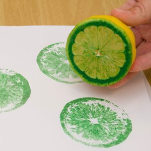 DIY Print Painting Idea for Preschoolers with Lemon