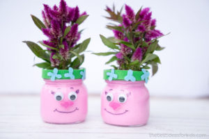 Super Adorable Trolls Mason Jars with Spray Primer Accent and Celosia Intenz Plant