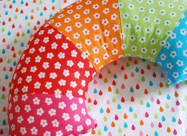 Super Charming and Vibrant Rainbow Pillow in Floral Print Fabric and Free Sewing Pattern