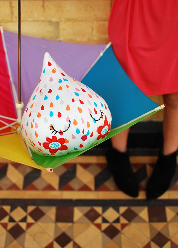 All-Sew Super Adorable Raindrop Fabric Craft in Free Softie Pattern and Cute Facial Features