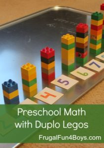 Preschool Math Activity Idea with Colorful Duplo Legos