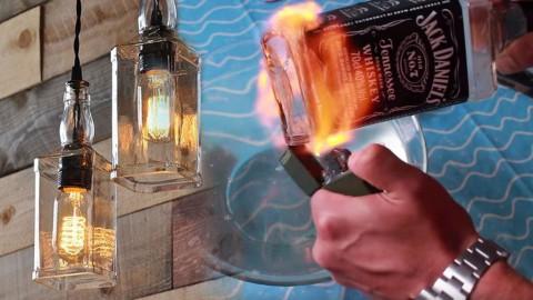 Upcycle DIY Pendant Light from Old Liquor Bottles