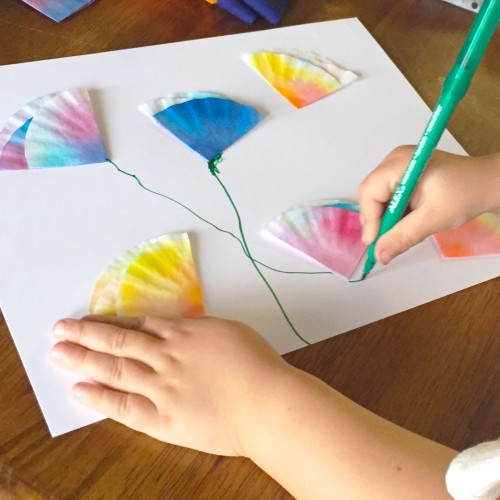 Upcycled Spring Flower Crafts For Kid With Coffee Filter And Food