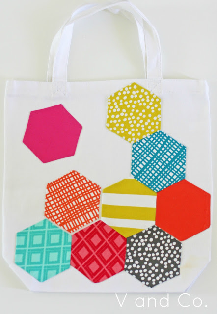 Hexagon Appliqued Bag with Various Colorful Fabric Scraps in Honeycomb Shape