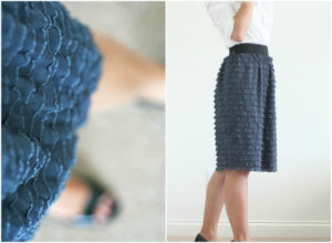 DIY Knee-Length Skirt with Ruffle Fabric and Sewn with an Elastic Waistband