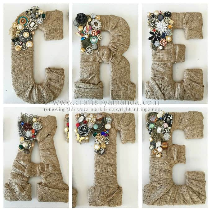 Vintage Letter Wall Art with Burlap Cover and Artificial Jewel Decor