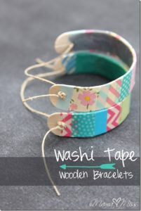 DIY Jewelry Craft: Washi Tape Wooden Bracelets