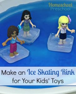 Preschool Ice Activity: Snowflakes and Ice Skating Rink with Miniature Human Figures