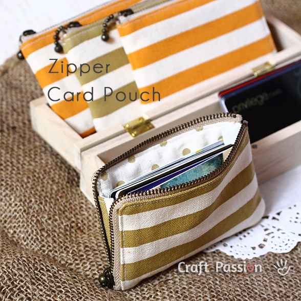 Zipper Card Pouch with Free Sew Pattern And Quilting Linen