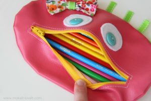 Zipper Mouth Pencil Case in Girl Version with Button Eyes and Cute Bow Decor