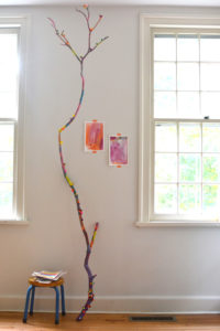 A Painted Branch Craft with Pretty Pom-Pom Decorations: DIY Collaborative Art with Kids