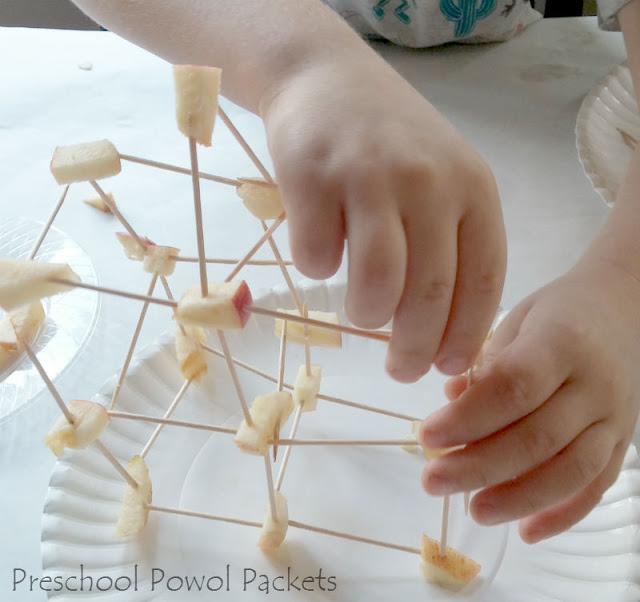 Apple Toothpick Tower Challenge: A Fine Motor Skill Project with Construction Theme for Toddlers