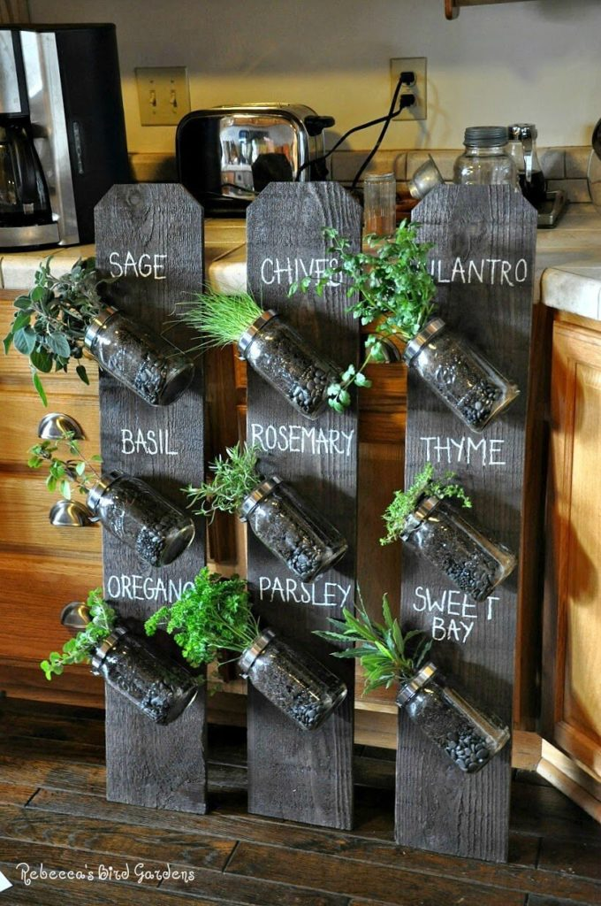 Up-Cycled Vertical Herb Gardening with Fence Posts: A Farmhouse Type Indoor Gardening Idea with Tags